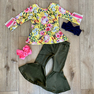 VANESSA FLORAL GREEN VELOUR BELL BOTTOM PANT SET