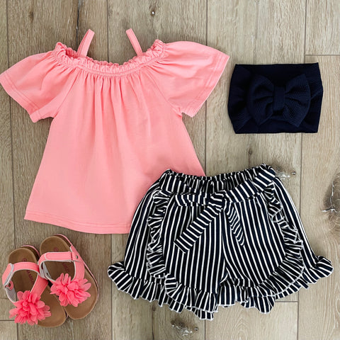 CORAL AND BLACK STRIPED SHORT SET