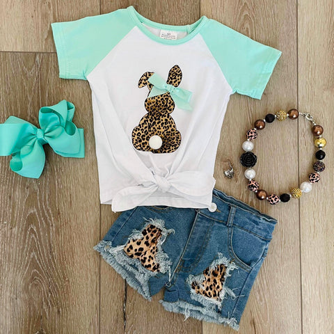 MINT GREEN BUNNY LEOPARD SHORT DENIM SET