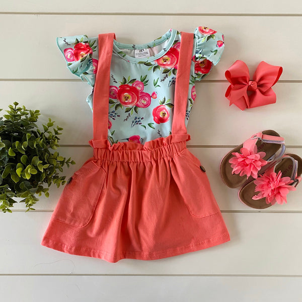ISLA CORAL FLORAL SUSPENDER SKIRT SET