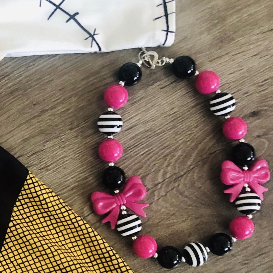 PINK, WHITE AND BLACK BOW NECKLACE