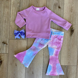 PURPLE AND BLUE TIE DYE FLARE BOUTIQUE SET