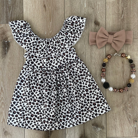 LEOPARD FLUTTER SLEEVE DRESS