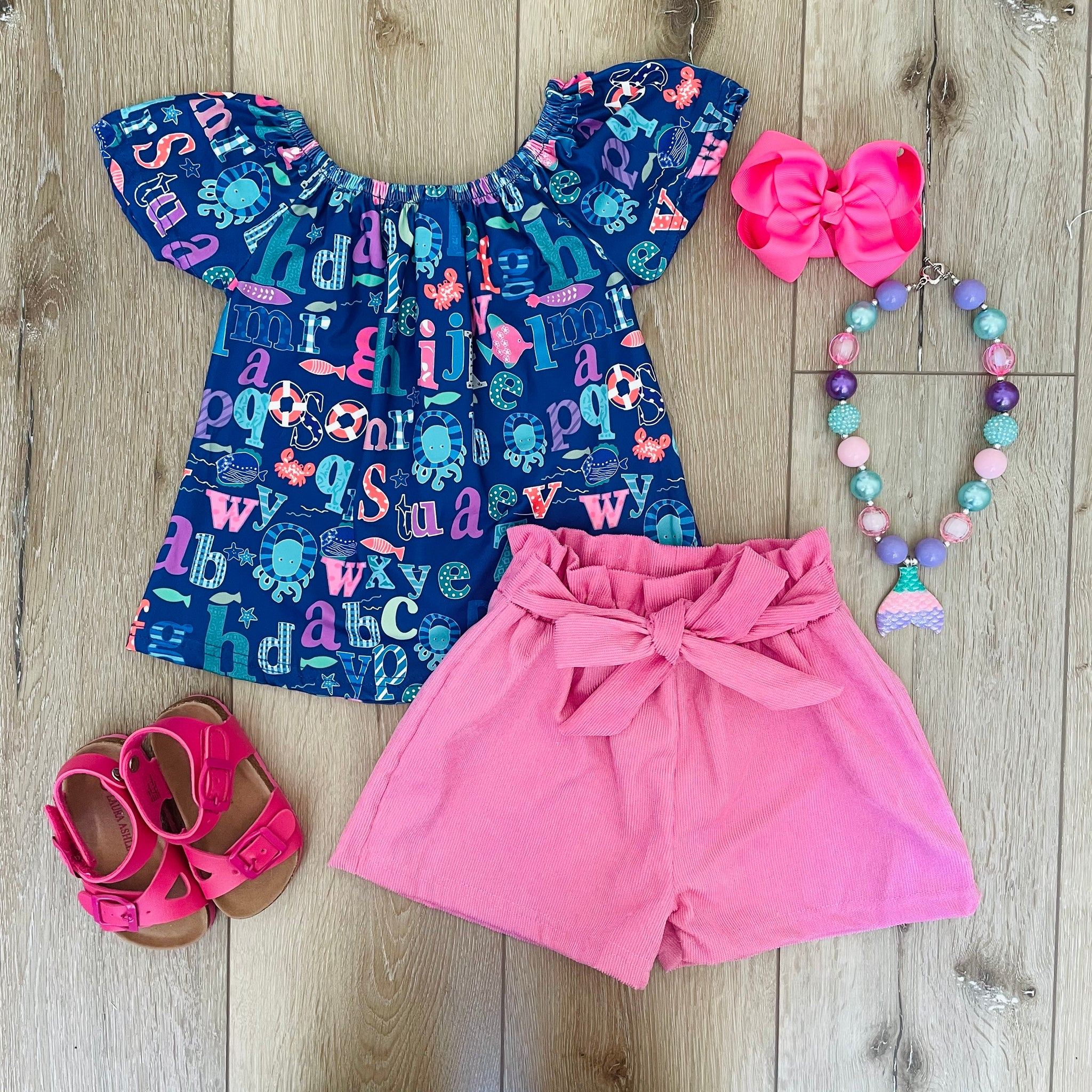 ALPHABET PINK CORDUROY SHORT SET