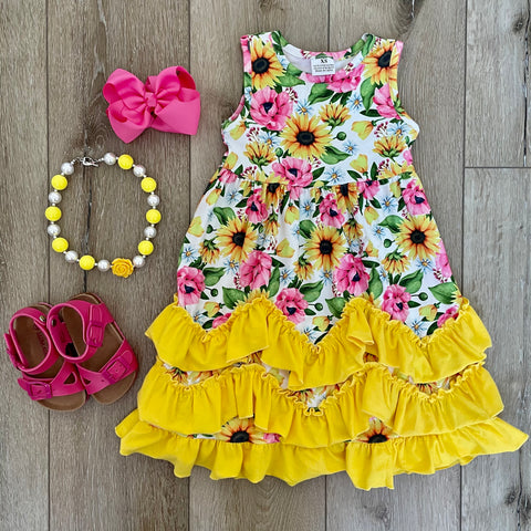YELLOW SUNFLOWER MAXI TANK DRESS