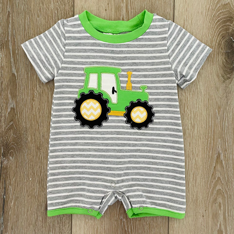 GREEN TRACTOR STRIPED ROMPER