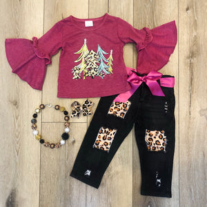 FUCHSIA LEOPARD TREE DENIM PANT SET