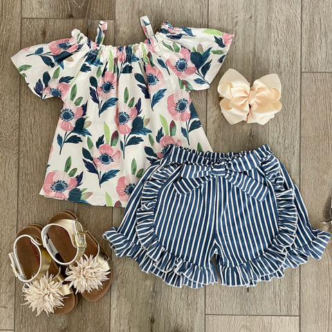 LUNA FLORAL STRIPED SHORT SET