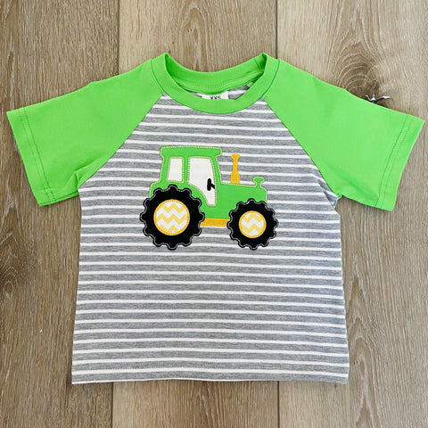 GREEN TRACTOR STRIPED SHORT SLEEVE TOP