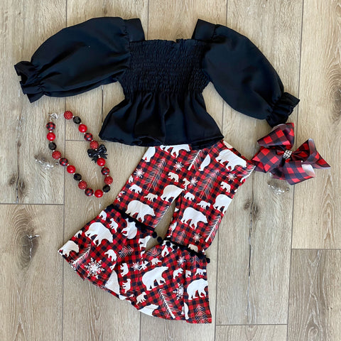 MOOSE AND BEAR PLAID BELL BOTTOM SET