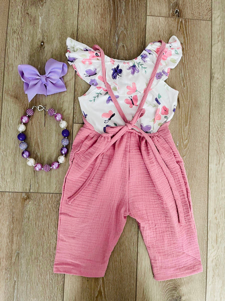 ROSE PINK FLORAL TWO PIECE ROMPER SET