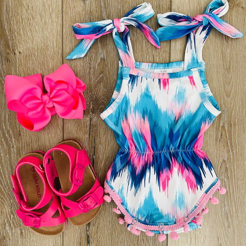 BLUE AND PINK POM POM ROMPER