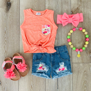 ORANGE FLORAL TANK DENIM SET