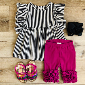 BLACK AND PLUM PURPLE STRIPED RUFFLE CAPRI SET