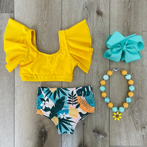 ALOHA YELLOW FLORAL HIGH WAIST TWO PIECE SWIMMING SUIT
