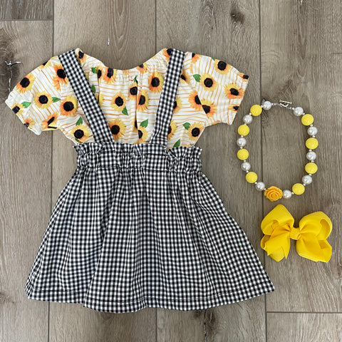 SUNFLOWER PLAID SUSPENDER SKIRT