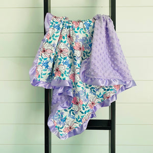 ALOHA PURPLE FLORAL WITH LAVENDAR RUFFLES MINKY BLANKET
