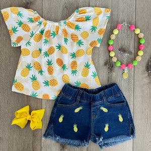 PINEAPPLE SUMMER DENIM SHORT SET