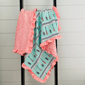 ARROW MINT GREEN WITH PINK RUFFLES MINKY BLANKET