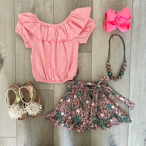 CORAL PEACH LEOPARD RUFFLE SKIRT SET