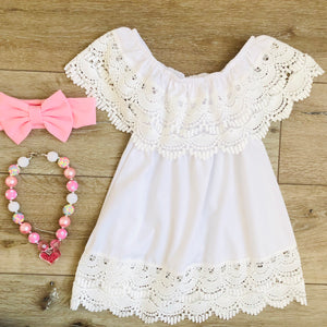 WHITE LACE RUFFLE SLEEVE DRESS