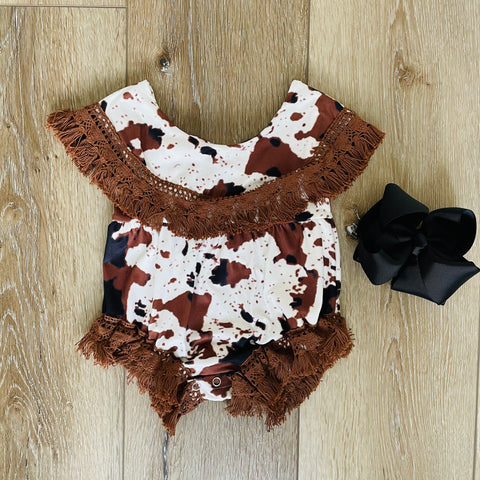 COW LACE FRAY ROMPER