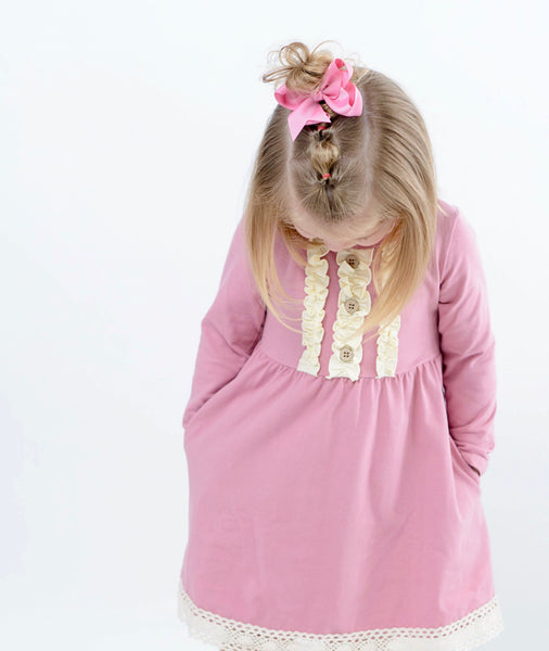 WILLOW PINK ROSE POCKET DRESS {9-12 MONTHS}