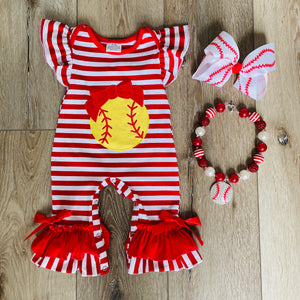 SOFTBALL RED AND WHITE STRIPED ROMPER