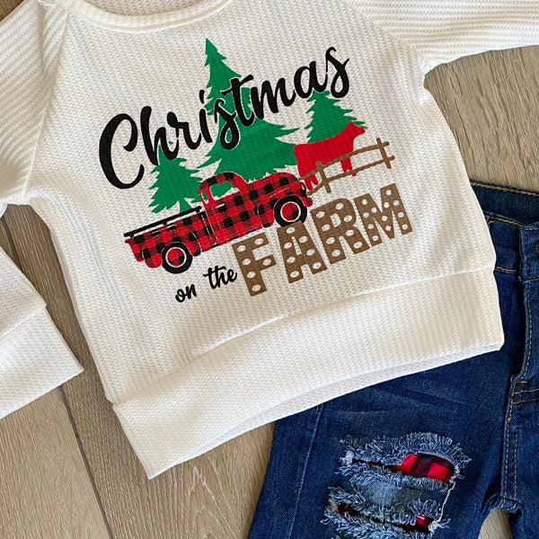 CHRISTMAS ON THE FARM DENIM PLAID PANT SET