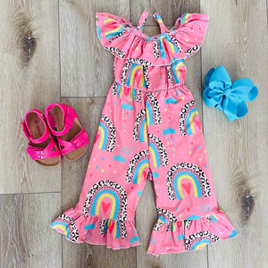 PINK RAINBOW AND LEOPARD FLUTTER ROMPER