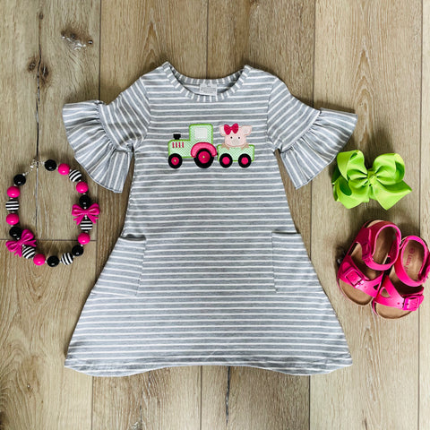 TRACTOR FARM FUN STRIPED POCKET DRESS