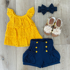 YELLOW RUFFLE AND NAVY SHORT SET