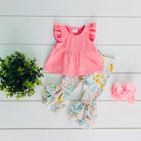 CHICKS AND BUNNIES SPRING FLORAL PANT SET