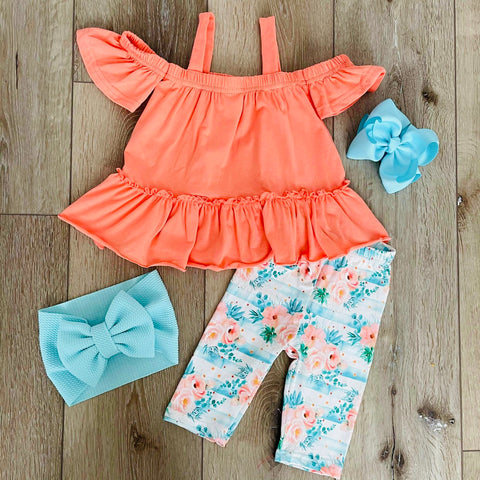 TROPICAL FLORAL RUFFLE CAPRI SET
