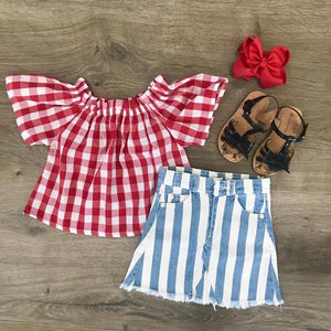 PLAID AND STRIPE DENIM SKIRT SET {8}
