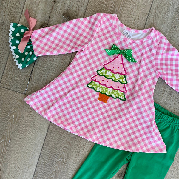 PINK POLKA DOT HOLIDAY TREE BOUTIQUE OUTFIT