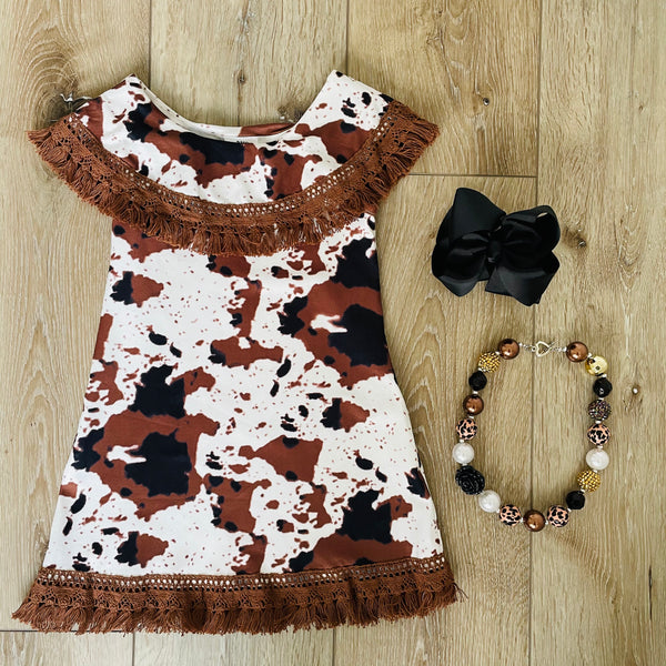 COW LACE FRAYED DRESS