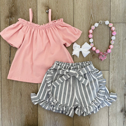 ROSE PINK STRIPED SUMMER SHORT SET
