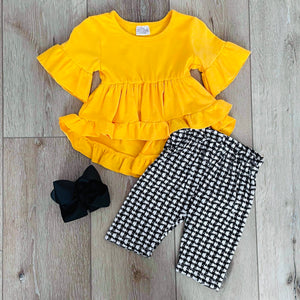 MUSTARD YELLOW PLAID THREE PIECE SET