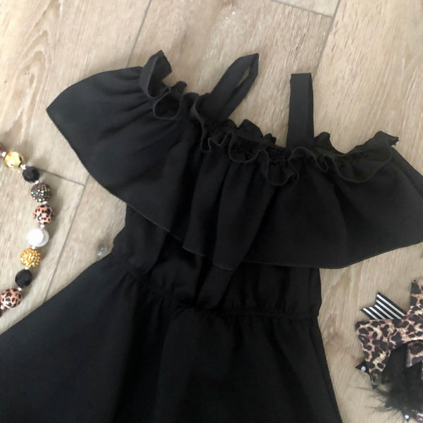 CLASSIC BLACK PEEK-A-BOO SHOULDER RUFFLE SLEEVE DRESS