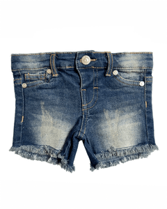 DISTRESSED DENIM DARK VINTAGE WASH SHORTS