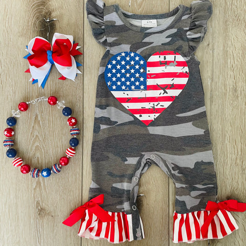 STARS AND STRIPES PATRIOTIC CAMO ROMPER