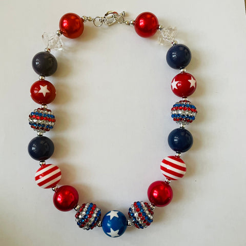 GOD BLESS THE USA PATRIOTIC NECKLACE