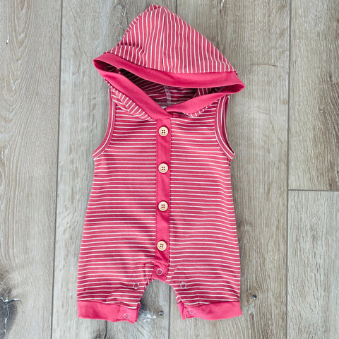 CORAL STRIPE HOODED ROMPER
