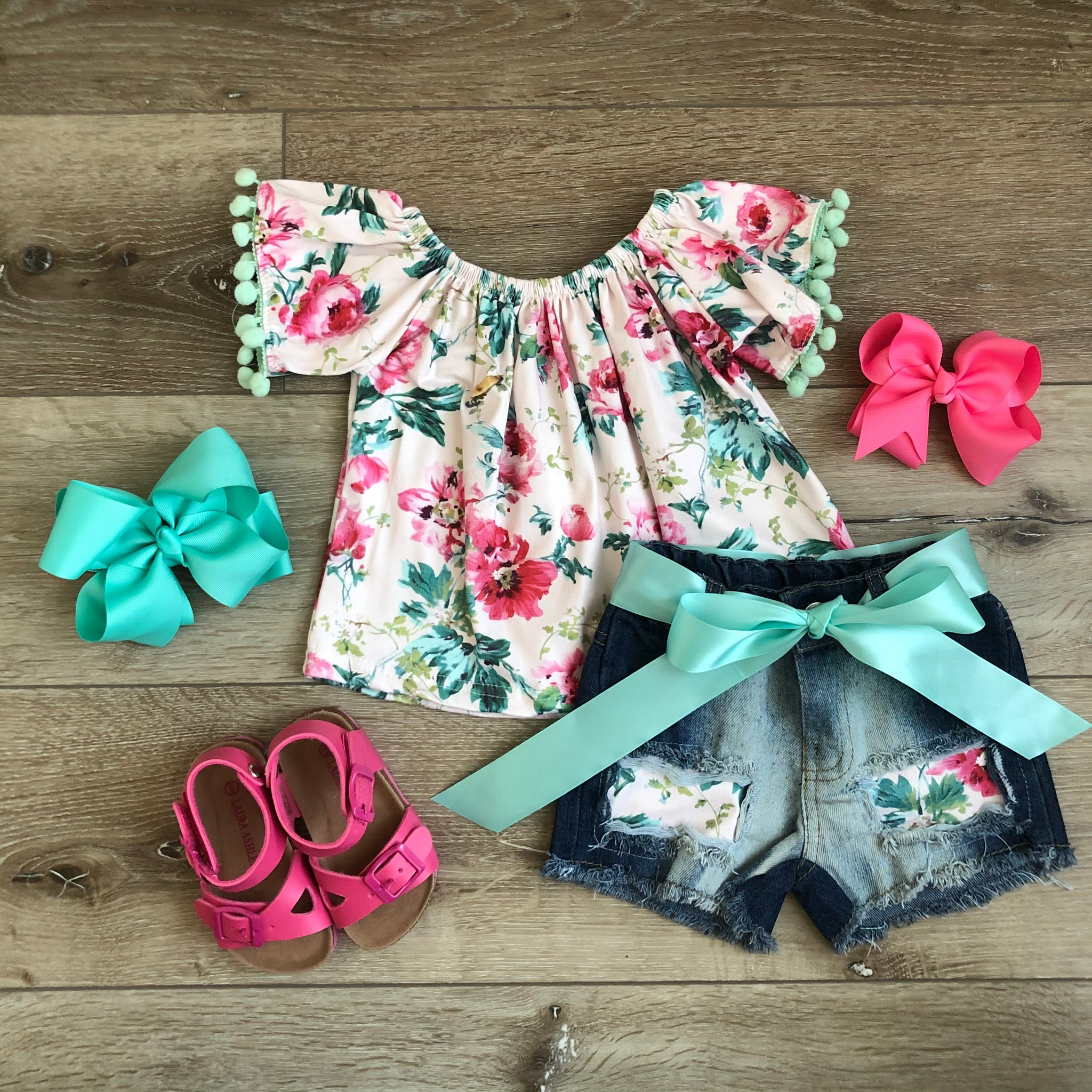 CORA FLORAL POM POM DENIM SET