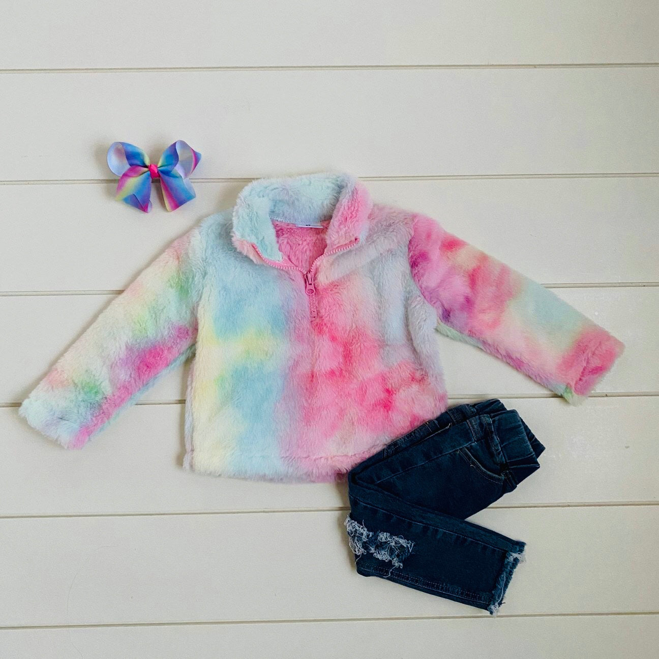 TIE DYE FLEECE HOODED PULLOVER