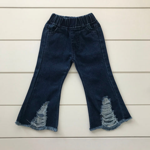 BELL BOTTOM DISTRESSED JEANS