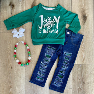 JOY TO THE WORLD DISTRESSED PANT SET