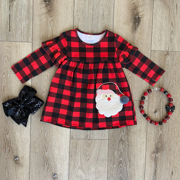 SANTA CLAUS CHRISTMAS PLAID DRESS