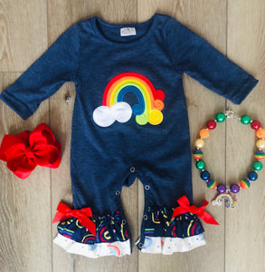 OVER THE RAINBOW NAVY BLUE ROMPER